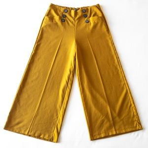 ZARA • HIGH WAISTED WIDE LEG CULOTTE PANTS MUSTARD